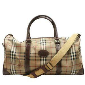 Auth Burberry Travel Bag Brown Coated #7794B22